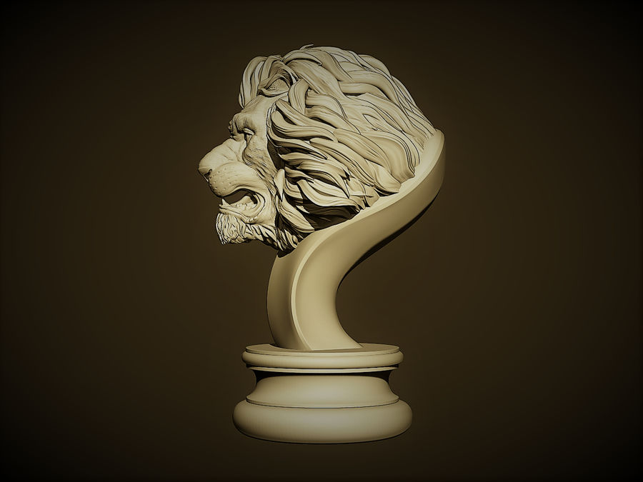 Lion head Sculpture royalty-free 3d model - Preview no. 2