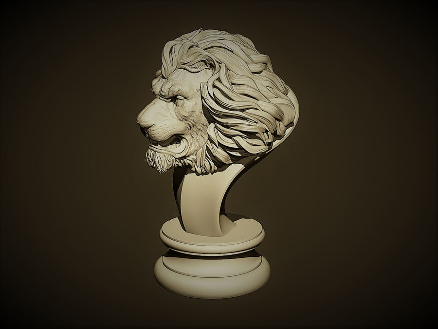 Lion head Sculpture royalty-free 3d model - Preview no. 3
