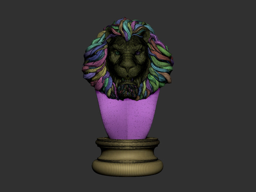 Lion head Sculpture royalty-free 3d model - Preview no. 6