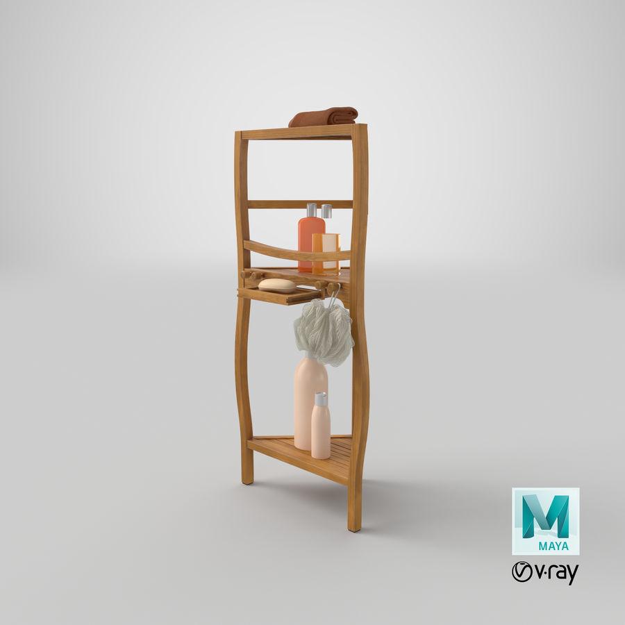 Prateleira de banho de canto com conjunto de acessórios royalty-free 3d model - Preview no. 20