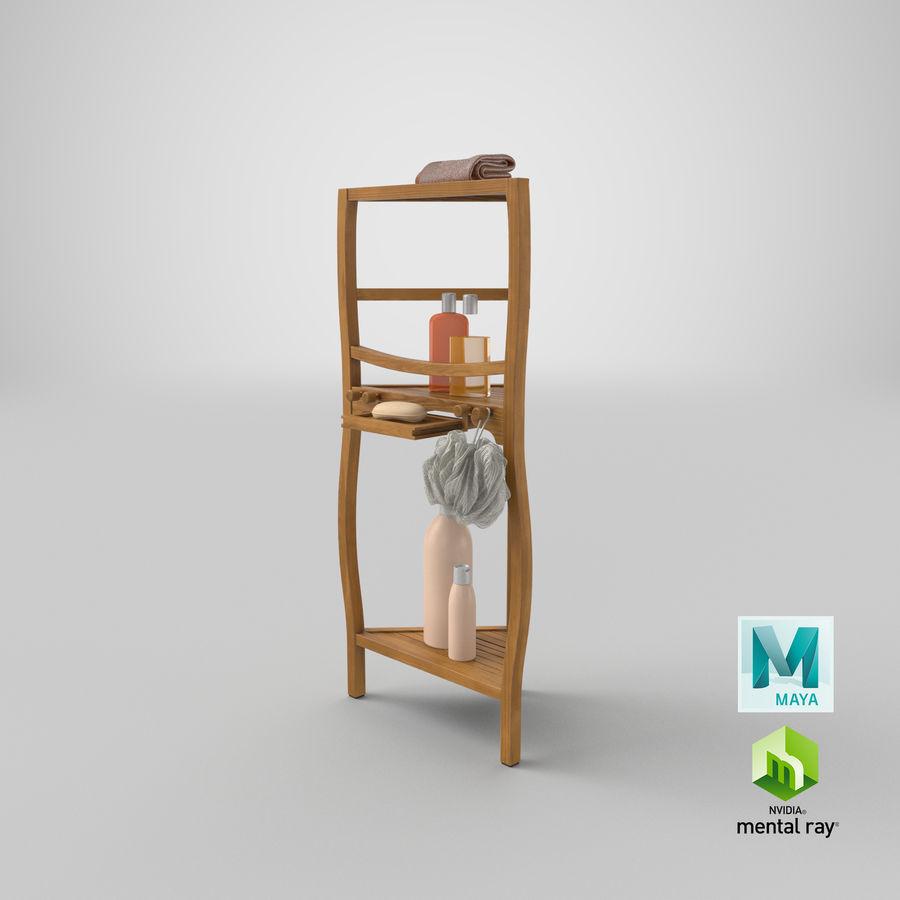 Prateleira de banho de canto com conjunto de acessórios royalty-free 3d model - Preview no. 21