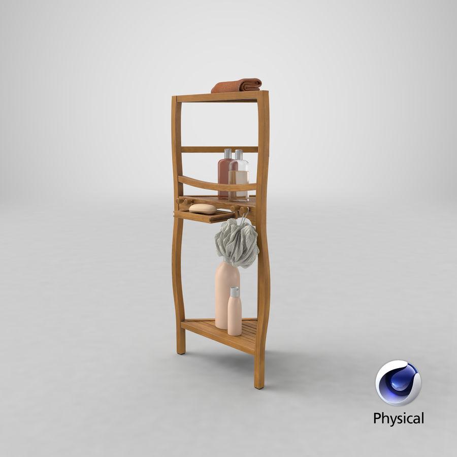 Prateleira de banho de canto com conjunto de acessórios royalty-free 3d model - Preview no. 24