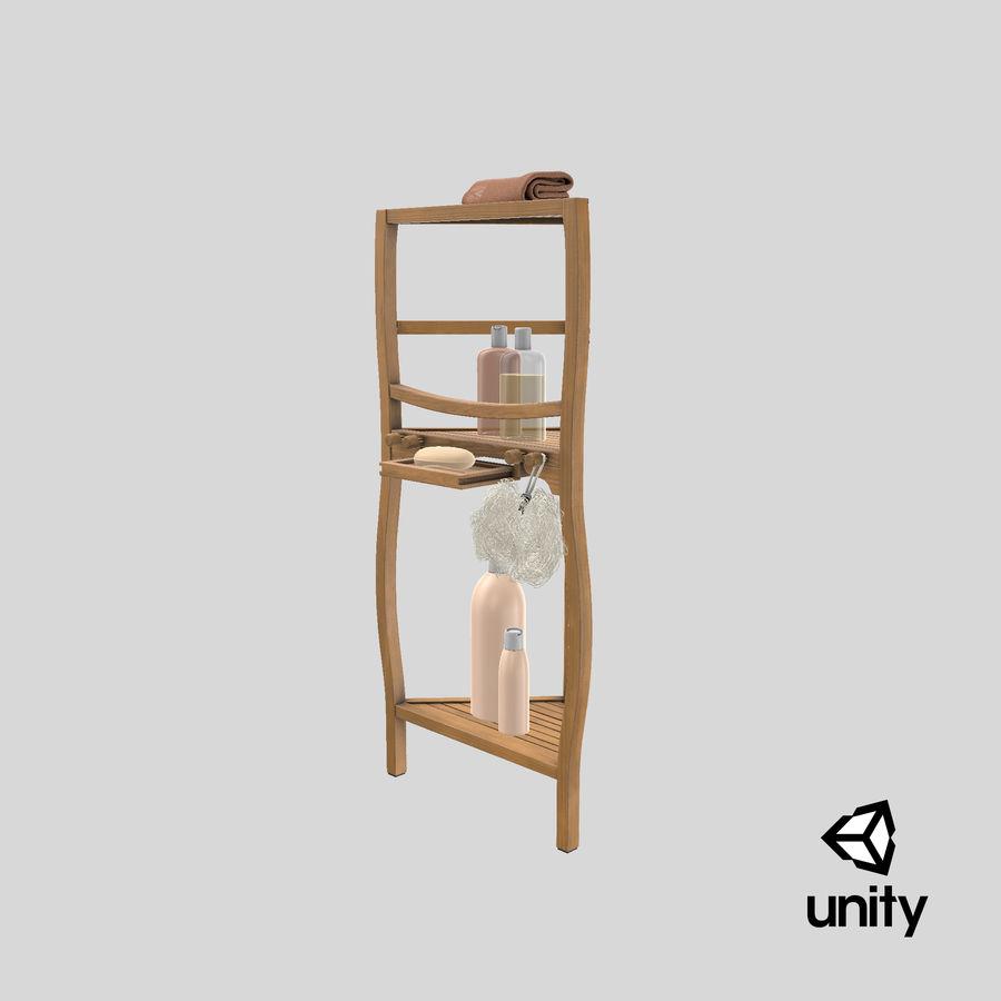 Prateleira de banho de canto com conjunto de acessórios royalty-free 3d model - Preview no. 26