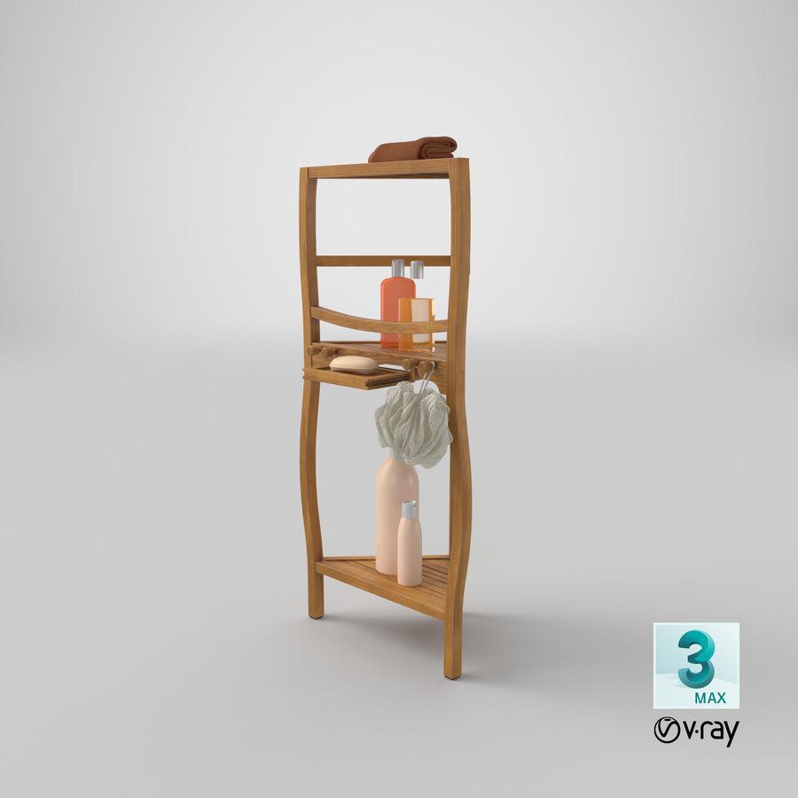 Prateleira de banho de canto com conjunto de acessórios royalty-free 3d model - Preview no. 22