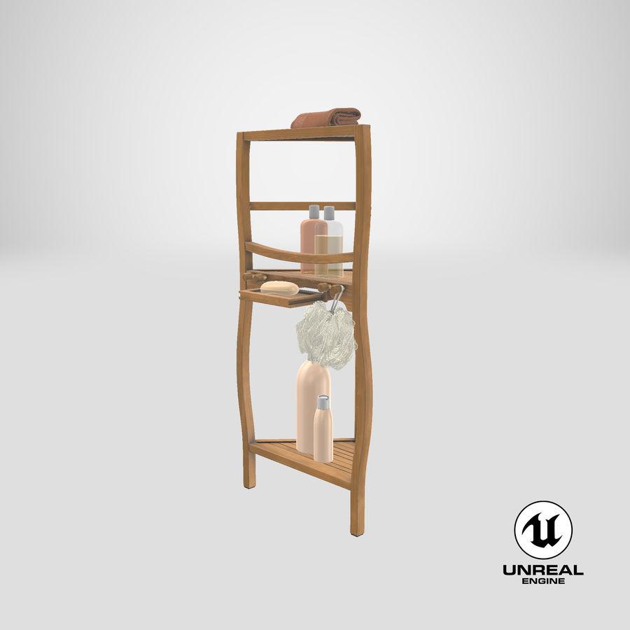 Prateleira de banho de canto com conjunto de acessórios royalty-free 3d model - Preview no. 25