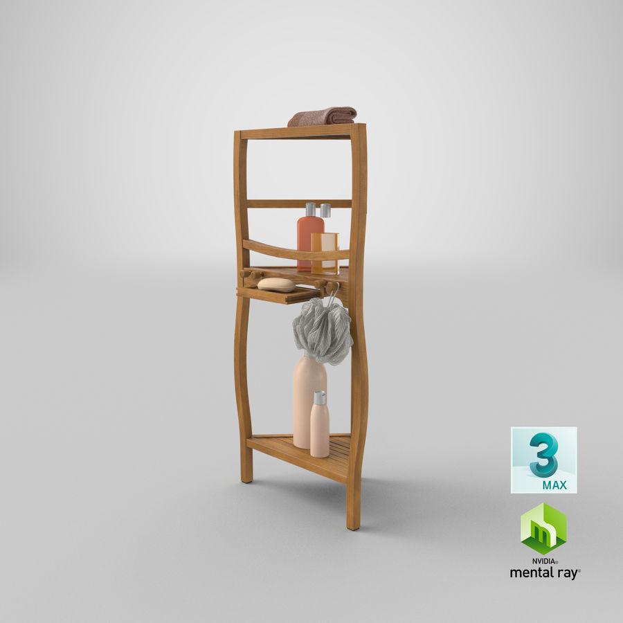 Prateleira de banho de canto com conjunto de acessórios royalty-free 3d model - Preview no. 23