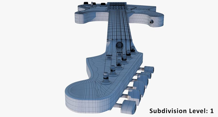 Electro Guitar royalty-free 3d model - Preview no. 17