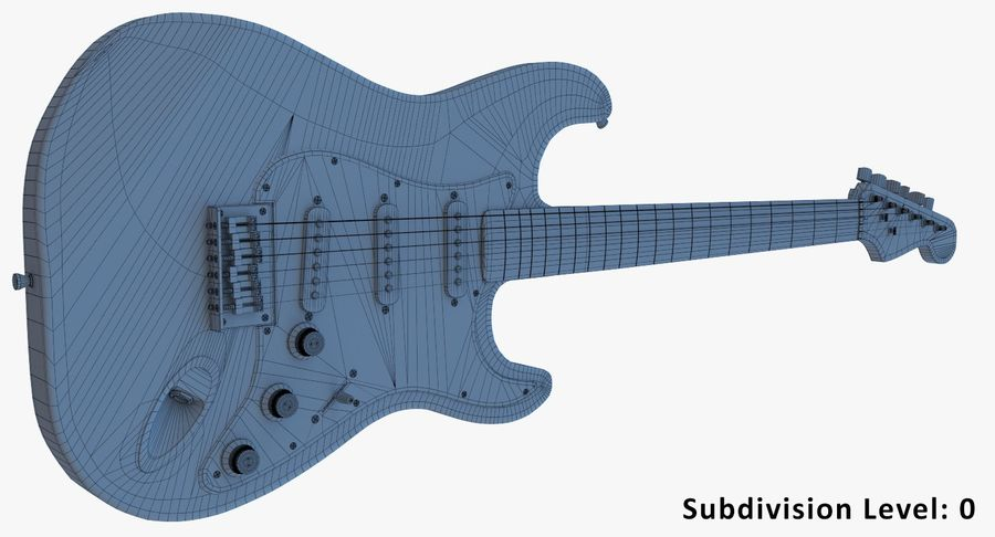 Electro Guitar royalty-free 3d model - Preview no. 10