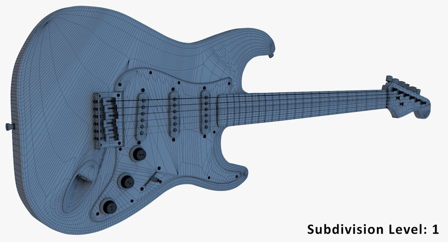 Electro Guitar royalty-free 3d model - Preview no. 11