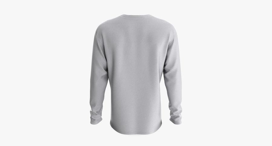 Męski T-shirt z okrągłym kołnierzem i długim rękawem royalty-free 3d model - Preview no. 5