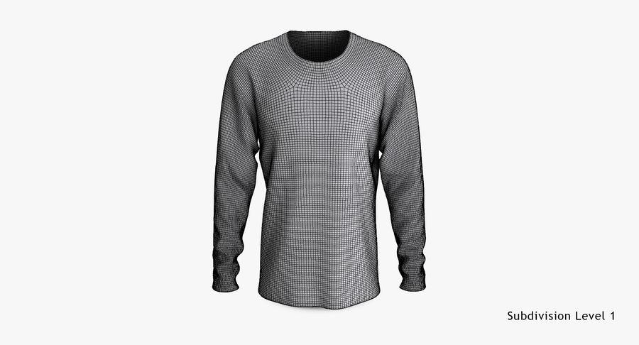 Męski T-shirt z okrągłym kołnierzem i długim rękawem royalty-free 3d model - Preview no. 15