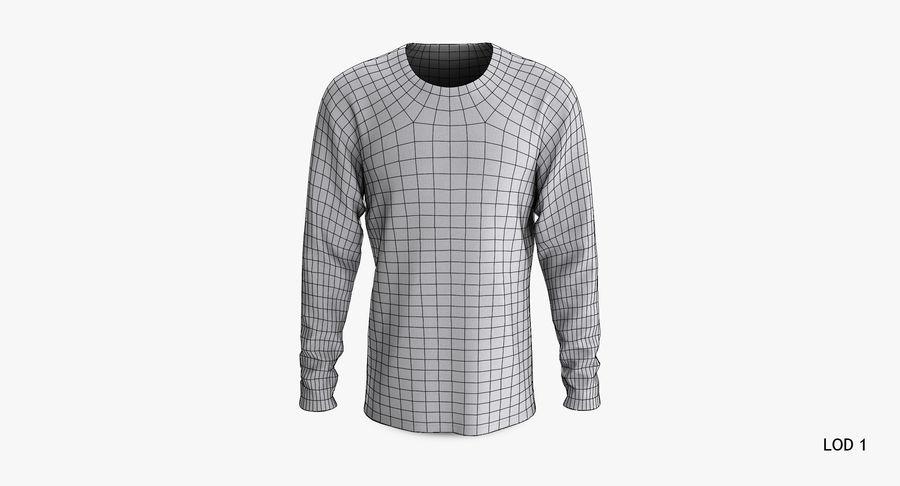 Męski T-shirt z okrągłym kołnierzem i długim rękawem royalty-free 3d model - Preview no. 16