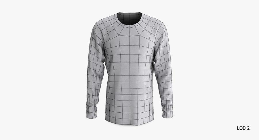 Męski T-shirt z okrągłym kołnierzem i długim rękawem royalty-free 3d model - Preview no. 17