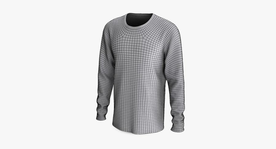 Męski T-shirt z okrągłym kołnierzem i długim rękawem royalty-free 3d model - Preview no. 13