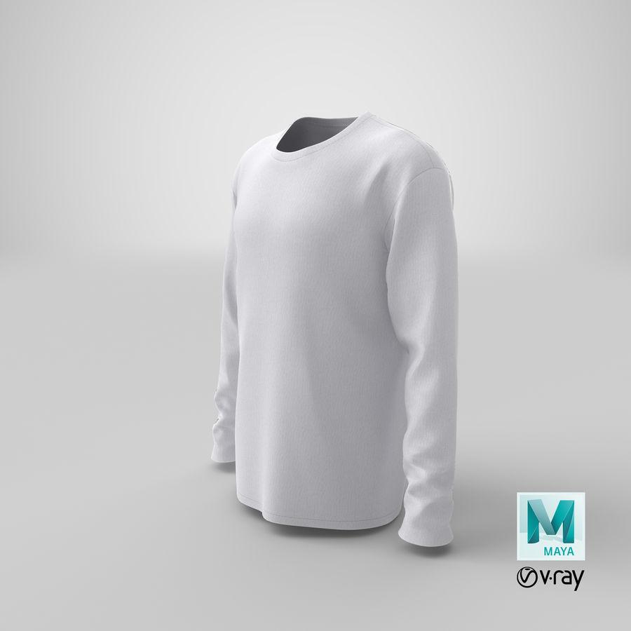 Męski T-shirt z okrągłym kołnierzem i długim rękawem royalty-free 3d model - Preview no. 21