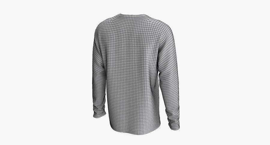 Męski T-shirt z okrągłym kołnierzem i długim rękawem royalty-free 3d model - Preview no. 10