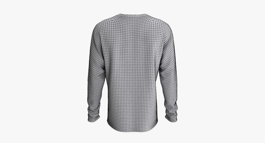 Męski T-shirt z okrągłym kołnierzem i długim rękawem royalty-free 3d model - Preview no. 11
