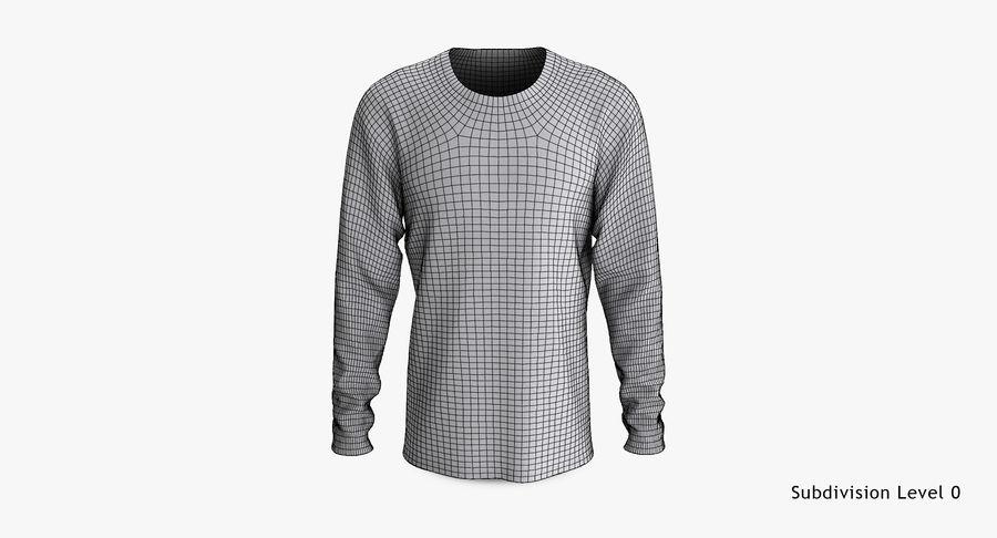 Męski T-shirt z okrągłym kołnierzem i długim rękawem royalty-free 3d model - Preview no. 14