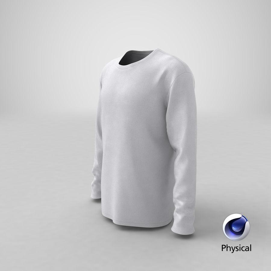 Męski T-shirt z okrągłym kołnierzem i długim rękawem royalty-free 3d model - Preview no. 25