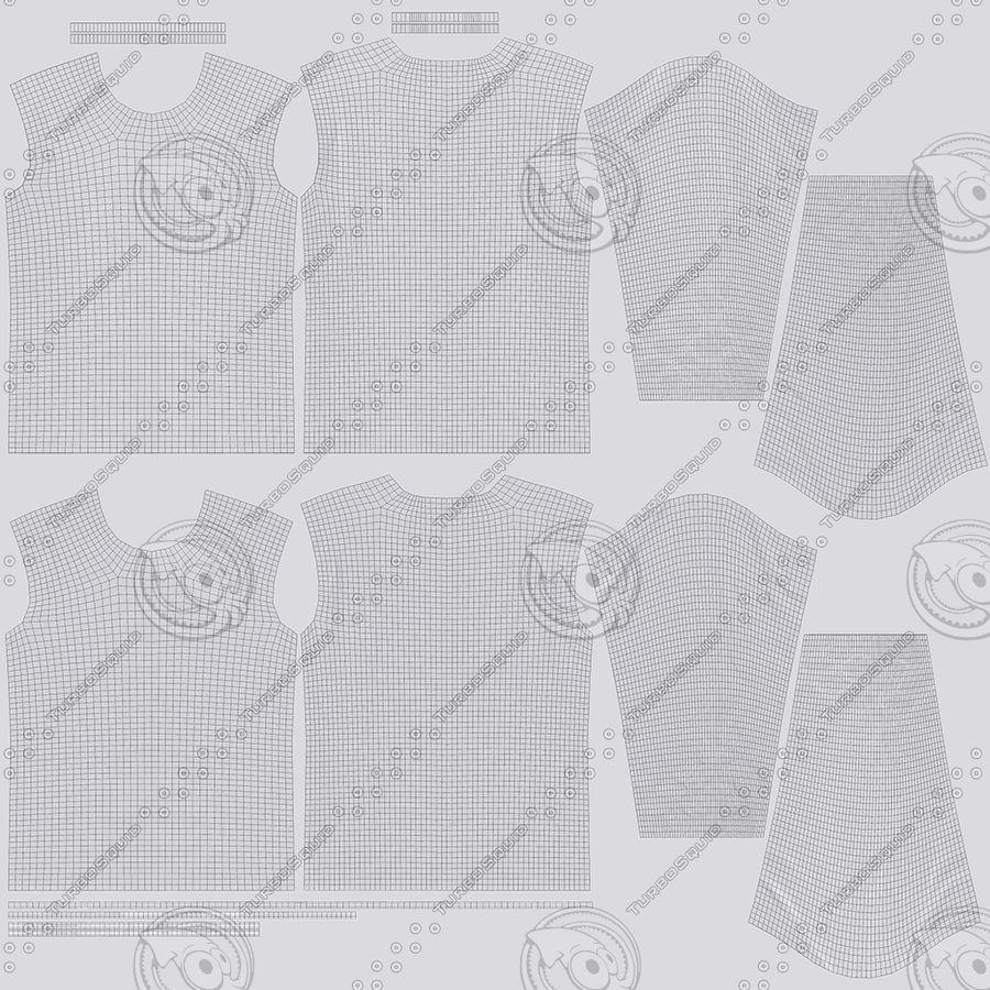 Męski T-shirt z okrągłym kołnierzem i długim rękawem royalty-free 3d model - Preview no. 19