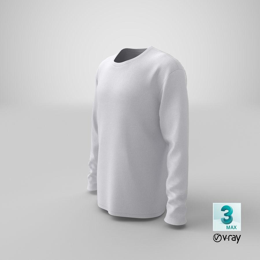 Męski T-shirt z okrągłym kołnierzem i długim rękawem royalty-free 3d model - Preview no. 23