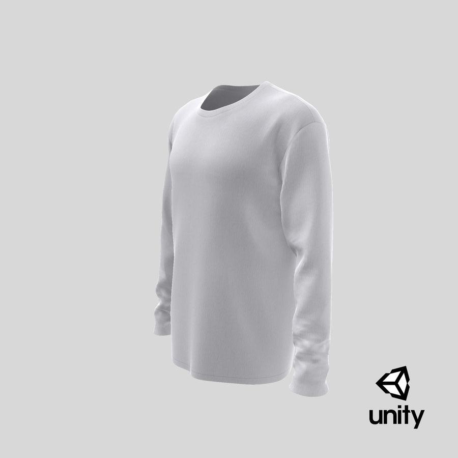 Męski T-shirt z okrągłym kołnierzem i długim rękawem royalty-free 3d model - Preview no. 27