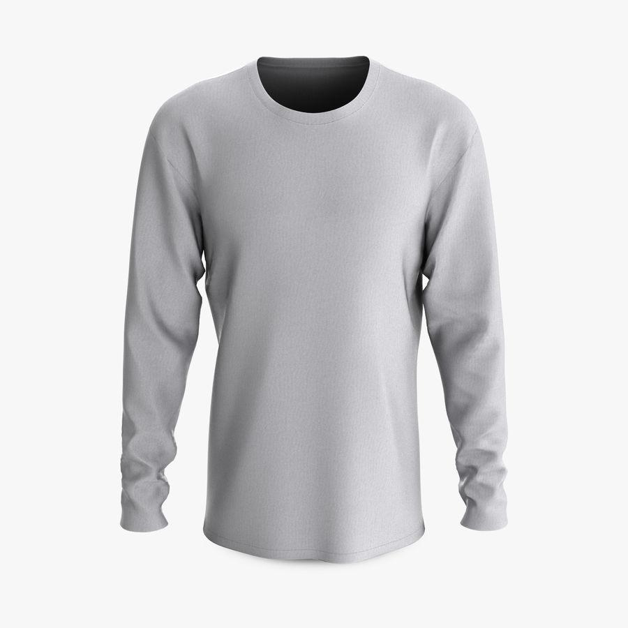 Męski T-shirt z okrągłym kołnierzem i długim rękawem royalty-free 3d model - Preview no. 1