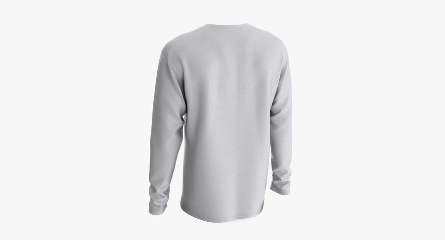 Męski T-shirt z okrągłym kołnierzem i długim rękawem royalty-free 3d model - Preview no. 6