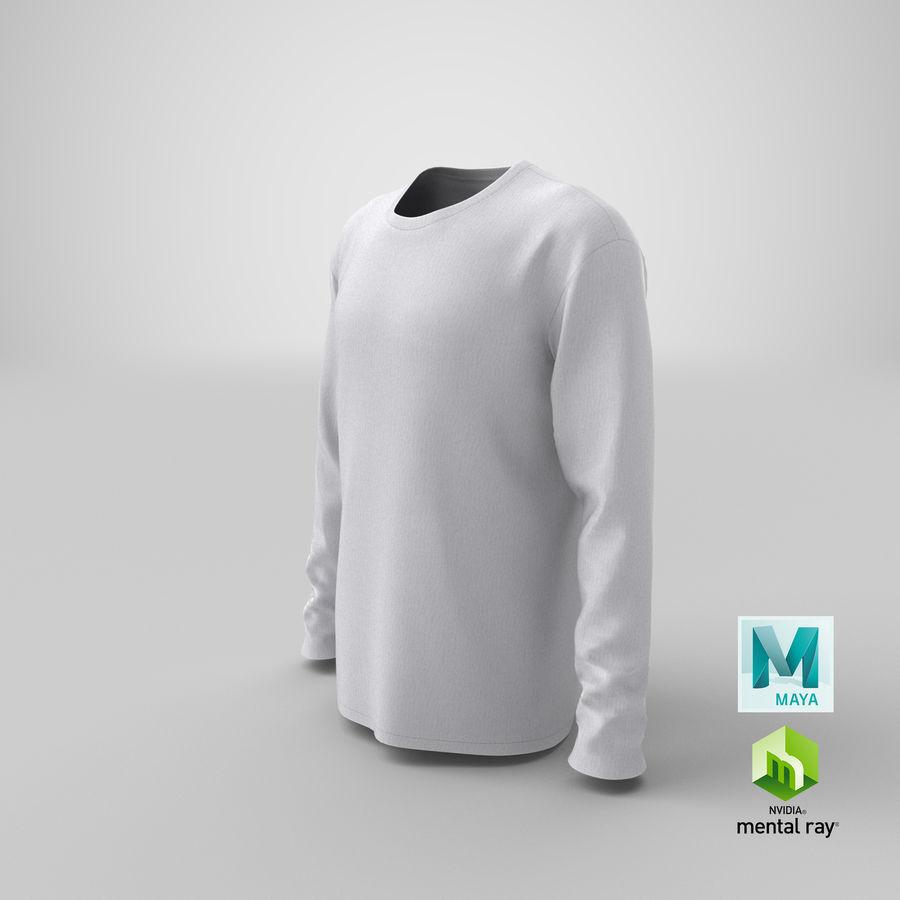 Męski T-shirt z okrągłym kołnierzem i długim rękawem royalty-free 3d model - Preview no. 22