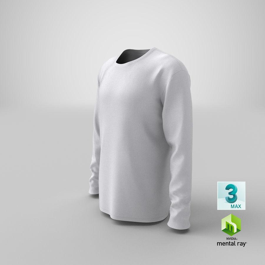 Męski T-shirt z okrągłym kołnierzem i długim rękawem royalty-free 3d model - Preview no. 24