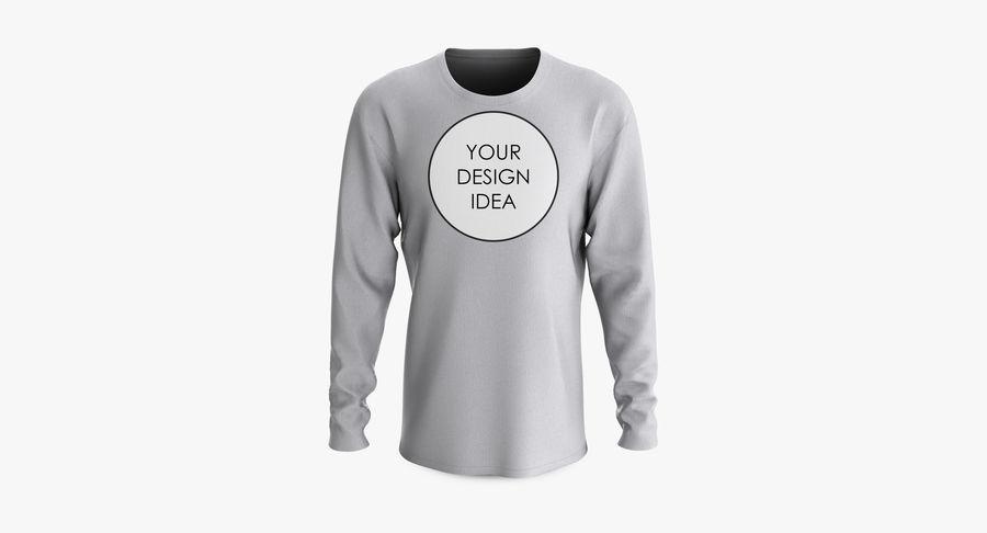 Męski T-shirt z okrągłym kołnierzem i długim rękawem royalty-free 3d model - Preview no. 18