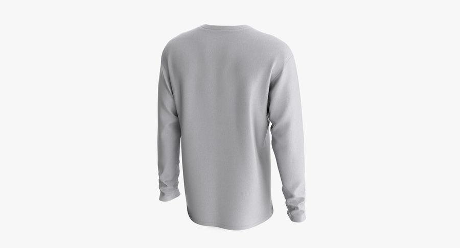 Męski T-shirt z okrągłym kołnierzem i długim rękawem royalty-free 3d model - Preview no. 4