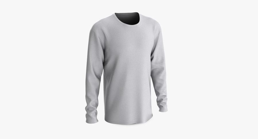 Męski T-shirt z okrągłym kołnierzem i długim rękawem royalty-free 3d model - Preview no. 3