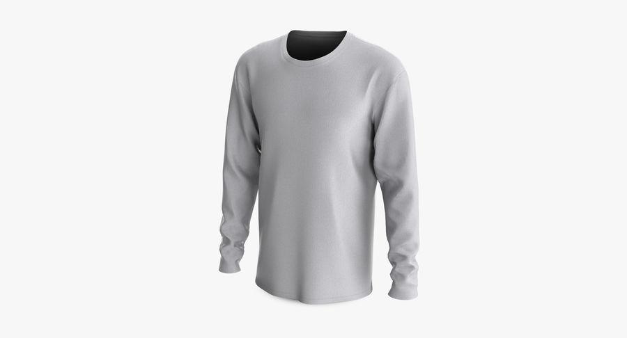 Męski T-shirt z okrągłym kołnierzem i długim rękawem royalty-free 3d model - Preview no. 7