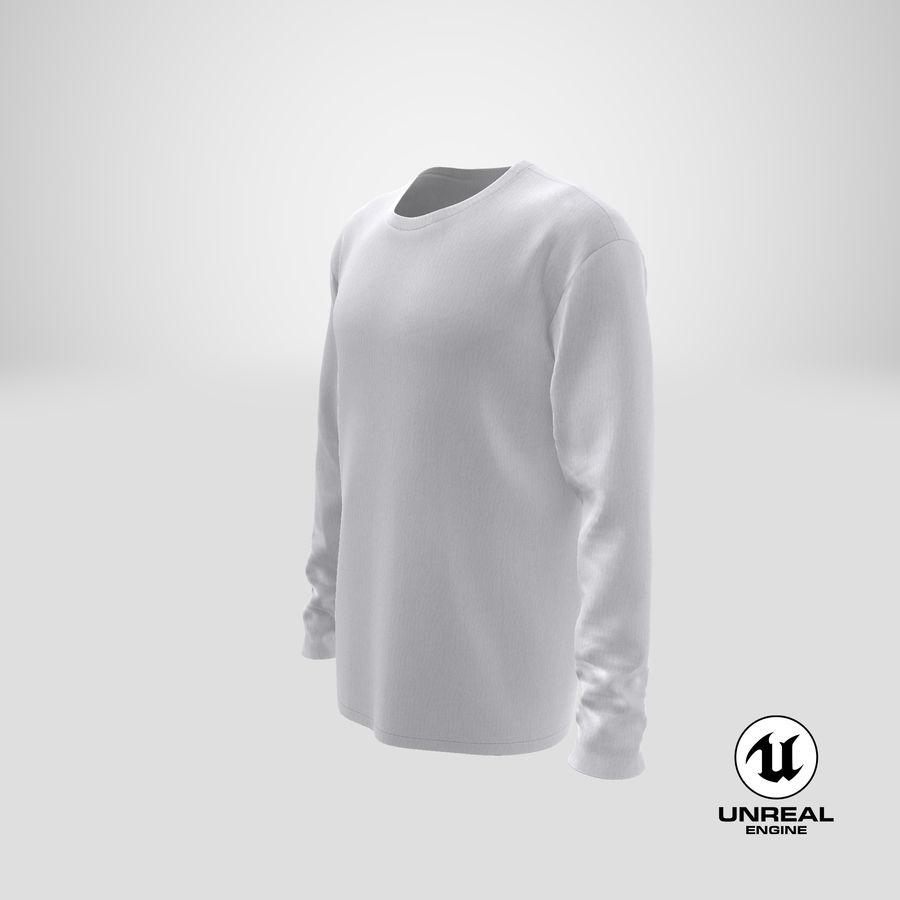 Męski T-shirt z okrągłym kołnierzem i długim rękawem royalty-free 3d model - Preview no. 26