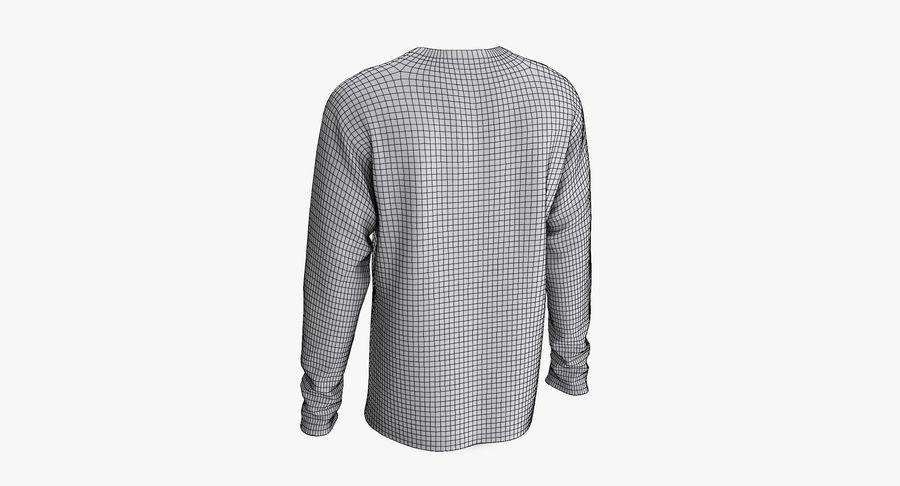 Męski T-shirt z okrągłym kołnierzem i długim rękawem royalty-free 3d model - Preview no. 12