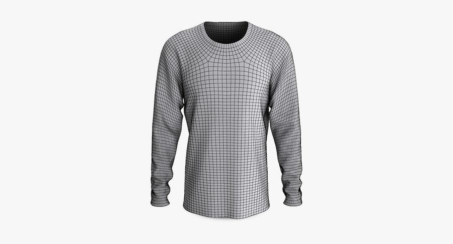 Męski T-shirt z okrągłym kołnierzem i długim rękawem royalty-free 3d model - Preview no. 8