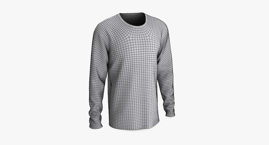 Męski T-shirt z okrągłym kołnierzem i długim rękawem royalty-free 3d model - Preview no. 9