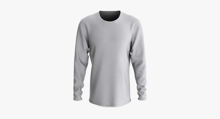 Męski T-shirt z okrągłym kołnierzem i długim rękawem royalty-free 3d model - Preview no. 2
