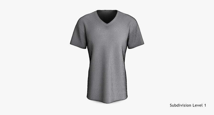T-shirt męski, opadające ramię, kołnierz V z krótkim rękawem (1) royalty-free 3d model - Preview no. 15