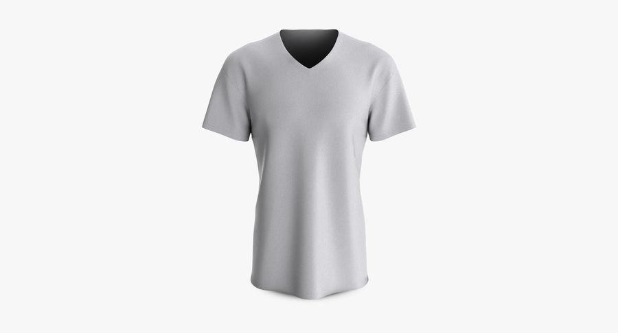 T-shirt męski, opadające ramię, kołnierz V z krótkim rękawem (1) royalty-free 3d model - Preview no. 2