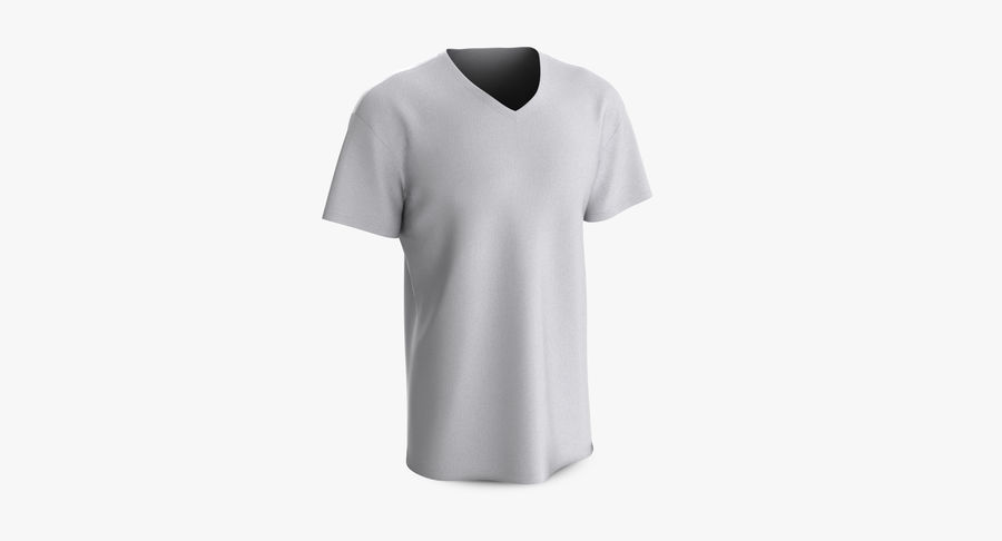 T-shirt męski, opadające ramię, kołnierz V z krótkim rękawem (1) royalty-free 3d model - Preview no. 3
