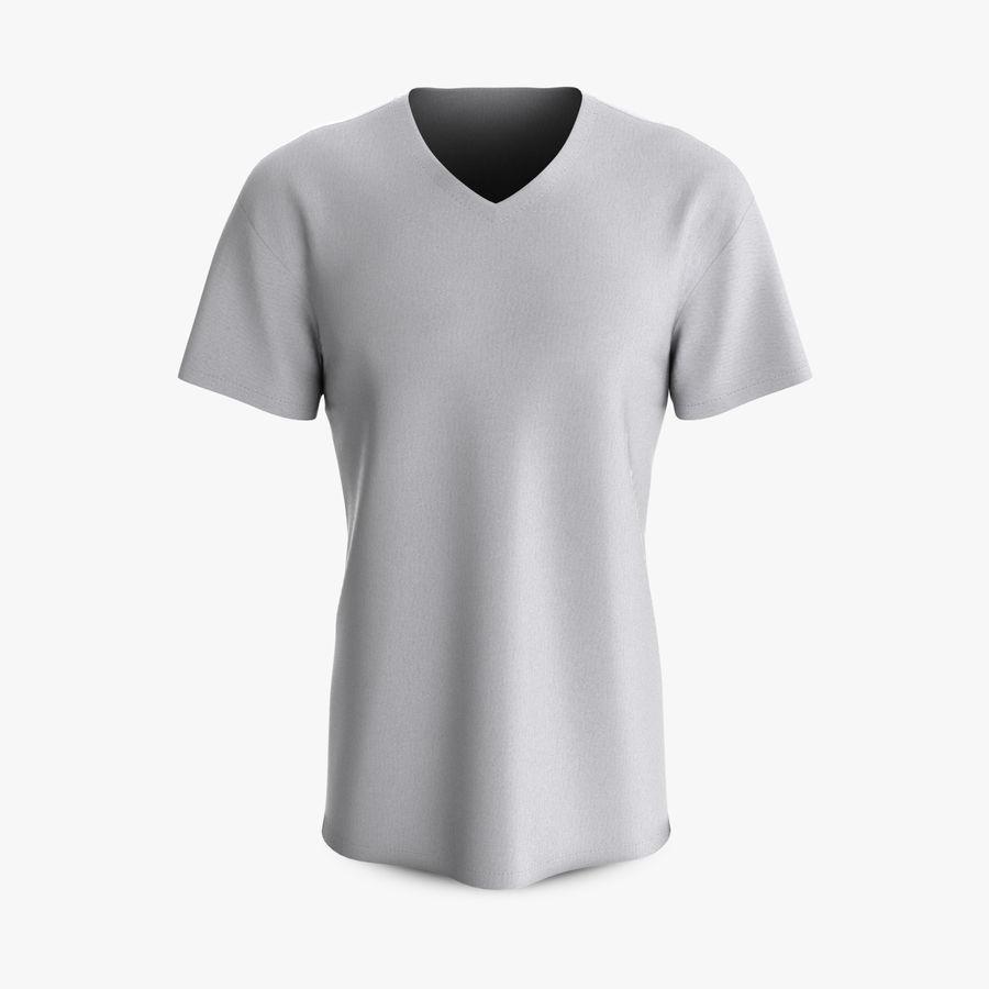 T-shirt męski, opadające ramię, kołnierz V z krótkim rękawem (1) royalty-free 3d model - Preview no. 1