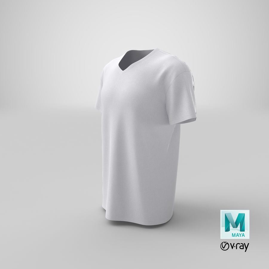 T-shirt męski, opadające ramię, kołnierz V z krótkim rękawem (1) royalty-free 3d model - Preview no. 21
