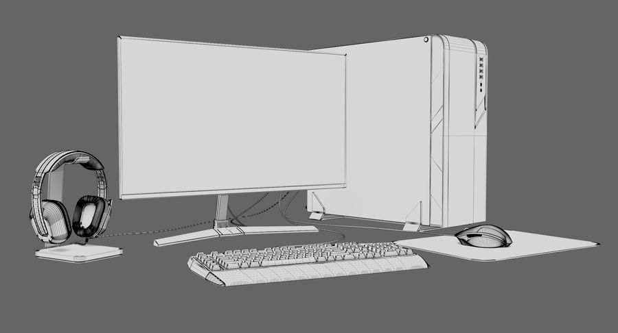 Generic Gaming Desktop PC royalty-free 3d model - Preview no. 16
