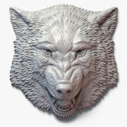 Growling Wolf Face Bas-Relief 3d model