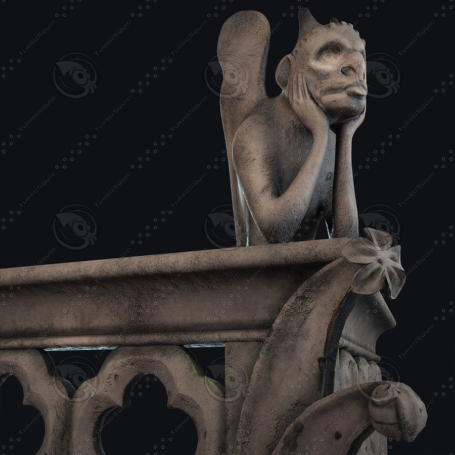 Gargouille Notre Dame royalty-free 3d model - Preview no. 5
