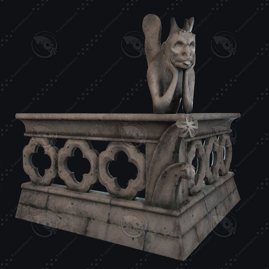 Gargouille Notre Dame royalty-free 3d model - Preview no. 4