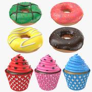 디저트 컬렉션 도넛과 컵 케이크 3d model