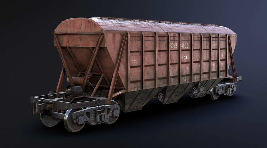 Carro Hopper LOD1 royalty-free 3d model - Preview no. 3